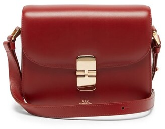 A.P.C. Grace Small Smooth-leather Cross-body Bag - Dark Red