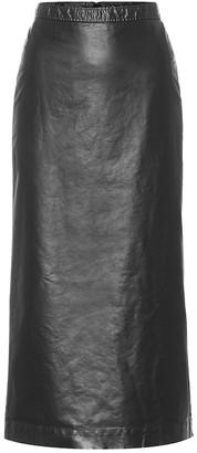 Dries Van Noten Faux leather midi skirt