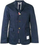 Thom Browne Uncontructed Single Breasted Sport Coat With Grosgrain Placket In Navy High Density Cotton