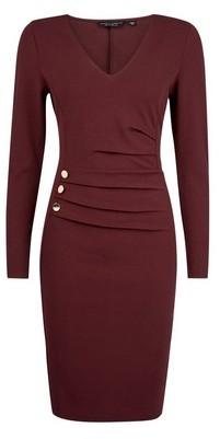 Dorothy Perkins Womens Oxblood Button Bodycon Dress