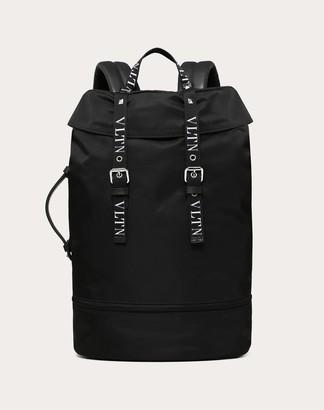Valentino Garavani Uomo Large Nylon Vltn Backpack Man Black Polyamide 90%, Acrylic 10% OneSize