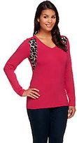 Denim & Co. Active Knit Animal Print Long Sleeve Top
