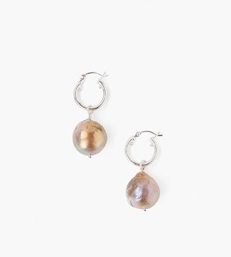 Chan Luu Pink Baroque Pearl Hoop Earrings