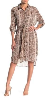 Love Stitch Snake Print Button Front Dress