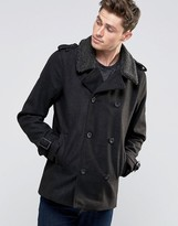 Brave Soul Pea Coat With Sherpa Collar