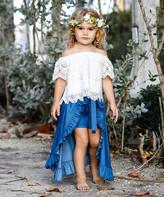 Mia Belle Girls Girls' Casual Skirts White - White Crochet Off-Shoulder Top & Denim Ruffle Walk-Through Skirt - Toddler & Girls