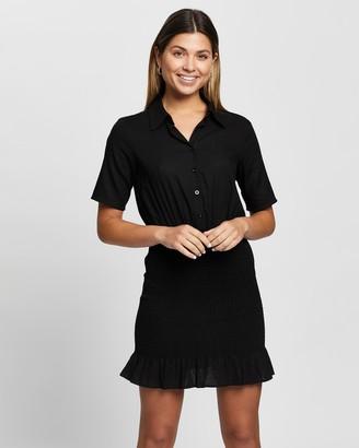 Atmos & Here Atmos&Here - Women's Black Mini Dresses - Gia Linen Blend Mini Dress - Size 8 at The Iconic