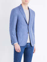 Canali Hopsack woven regular-fit wool and cashmere-blend jacket