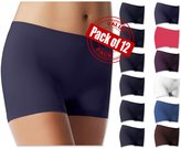 Sexy Basics Women's 12 Pack Smooth & Soft Spandex Bike Yoga Running Boxer Shorts