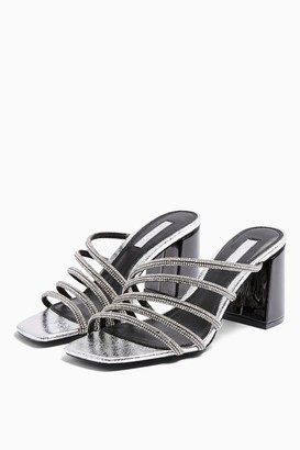 Topshop WIDE FIT RHONDA Silver Tube Bling Mules