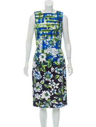 Oscar de la Renta Floral Print Knee-Length Dress Blue