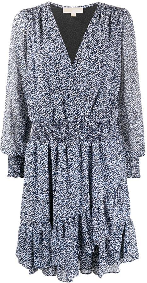 MICHAEL Michael Kors Long-Sleeve Floral Shift Dress