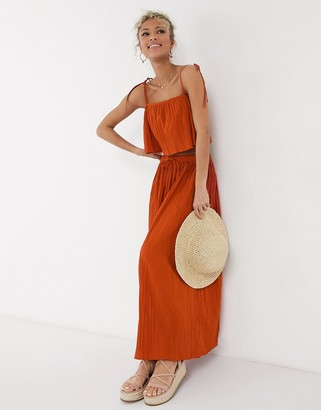 Asos DESIGN maxi crinkle column skirt in rust co-ord
