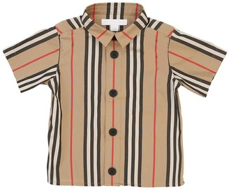 Burberry Icon S/s Striped Cotton Shirt