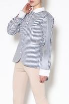 Katherine Barclay Stripe Button-Down Top