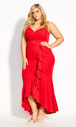City Chic Ruffle Delight Maxi Dress - red