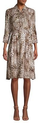 Elie Tahari Brinx Leopard Shirtdress