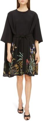 Givenchy Goddess of Rainbow Floral Print Silk Dress