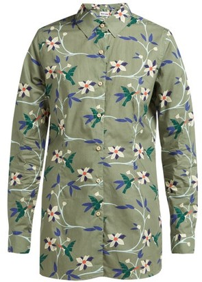 Thorsun Georgie Hummingbird-print Cotton-poplin Shirt - Womens - Khaki Multi