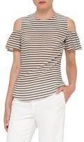 Akris Punto Women's Stripe Silk Cold Shoulder Blouse