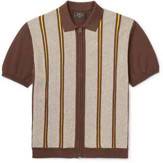 Beams Slim-Fit Striped Cotton And Linen-Blend Zip-Up Polo Shirt
