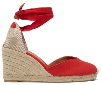 Castaner Chiara 80 Canvas & Jute Espadrille Wedges - Womens - Red