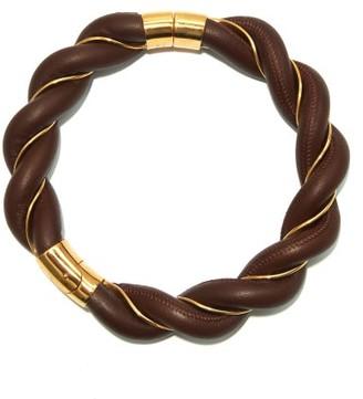 Bottega Veneta 18kt Gold-plated And Nappa-leather Choker - Brown