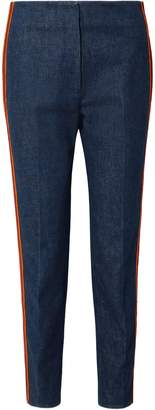 Calvin Klein Zip-detailed Striped High-rise Slim-leg Jeans