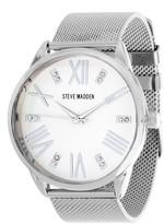 Steve Madden Women's Analog Crystal Mesh Bracelet Watch