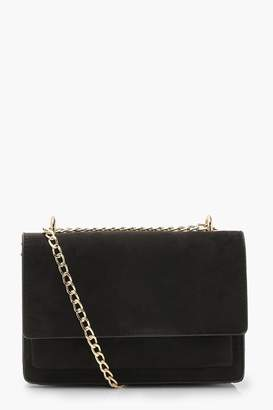 boohoo Suedette Structured Cross Body Bag & Chain