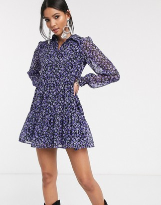 Bershka floral shirt dress in purple