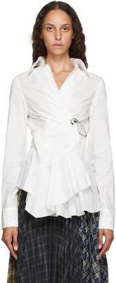 Marques Almeida White Poplin Safety Pin Shirt
