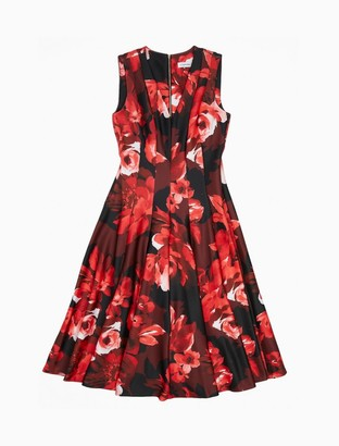 Calvin Klein Floral V-Neck Sleeveless Fit + Flare Dress