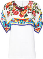 Dolce & Gabbana floral panel T-shirt - women - Silk/Cotton - 38