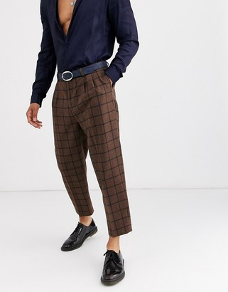 Twisted Tailor wide leg tapered pants in brown check