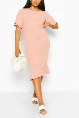 boohoo Plus Soft Rib Ruffle Hem Midi Dress