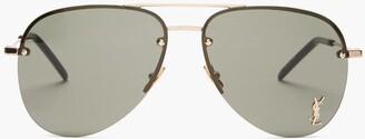 Saint Laurent Aviator Metal Sunglasses - Gold