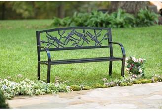 Evergreen Dragonfly Metal Garden Bench - Black