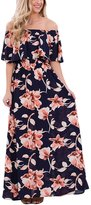 Roswear Women's Casual Boho Vibe Floral Print Off Shoulder Maxi Dress