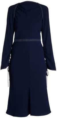 Marni Envers Crepe Long-Sleeve Flared Dress