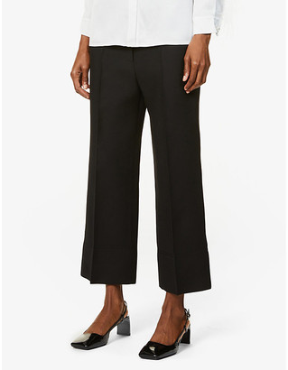 Valentino Cropped high-rise wool and silk-blend trousers