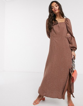 New Look square neck puff sleve midaxi dress in polka dot