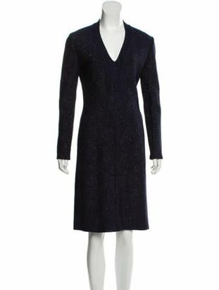 Alaia Metallic-Accented Knee-Length Dress Blue