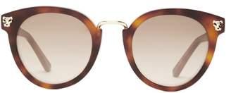 Cartier Eyewear - Panthere Round Tortoiseshell-acetate Sunglasses - Womens - Tortoiseshell