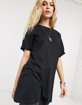 Bershka longline tee in black