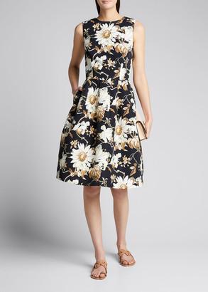 Oscar de la Renta Floral-Print Dress with Pockets