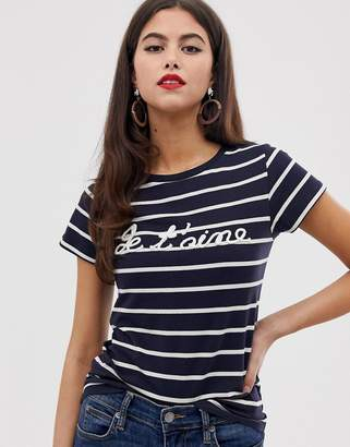 French Connection top stripe t-shirt-Blue
