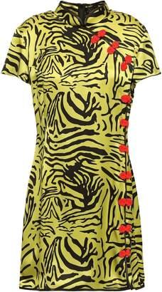 De La Vali Button-embellished Tiger-print Silk-satin Mini Dress