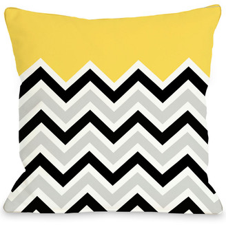 One Bella Casa Yellow Chevron Decorative Pillow