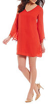 CATHERINE Catherine Malandrino Lace Trim 3/4 Bell Sleeve Babs Dress